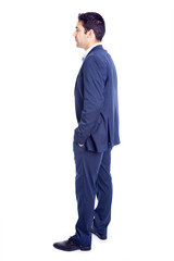 Confident business man standing isolated on white background