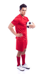 Soccer player standing with ball isolated on a white background