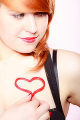 Redhair woman girl and valentine red heart love. Valentines day.