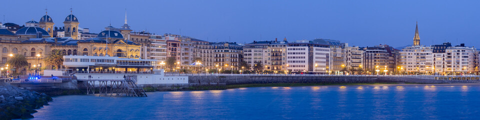 panoramic view of Donostia - San Sebastian at night