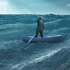 Man Adrift in tiny boat in binary ocean