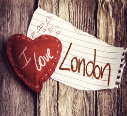 I Love London written on a peace of paper and a heart