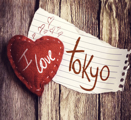 I Love Tokyo written on a peace of paper and a heart