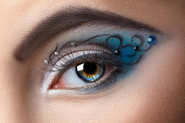 Modern fashion makeup of a female eye