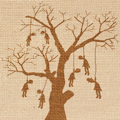 Scary vector halloween scene with hanging body