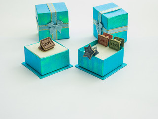 beautiful colors gift boxes and cute paper clips