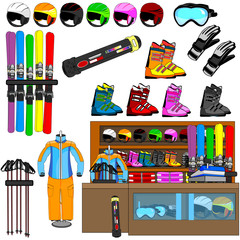 ski shop and equipment tools vector