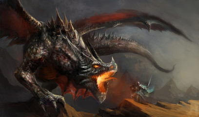 knight fighting dragon