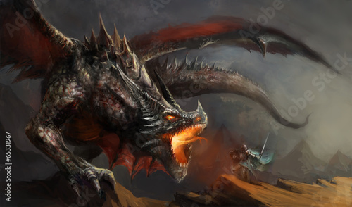 Leinwanddruck Bild knight fighting dragon