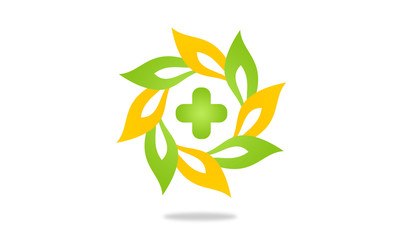 medical eco circle leaf abstract logo