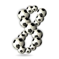 Soccer Alphabet - 3D - Number 8