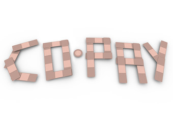 Co-Pay Word Insurance Bandages Deductible Medical Bill
