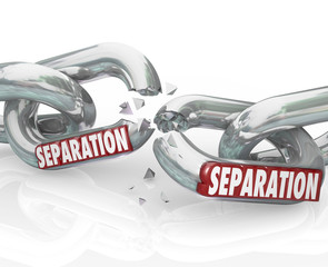Separation Chain Links Break Apart Dividing Pulling Away
