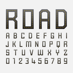 alphabetic fonts and numbers with road style