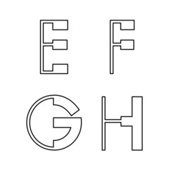 alphabetic font E F G and H