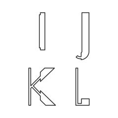 alphabetic font I J K and L