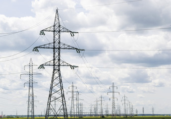 Electric power lines landscape