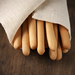 Breadsticks in napkin