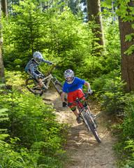 Downhill auf Wald-Trail