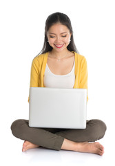 Asian girl using laptop pc