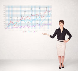 Young business woman presenting stock market diagram
