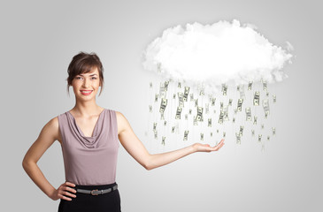 Woman with cloud and money rain concept