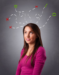Young woman thinking with abstract marks overhead