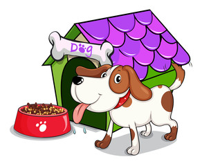 A dog beside the bowl with foods