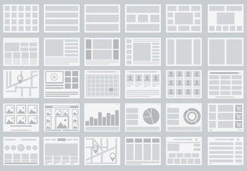 Website Flowcharts, layouts of tabs, infographics, maps