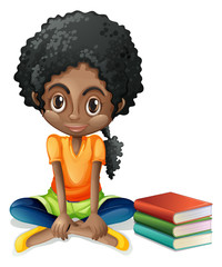 A young Black girl sitting beside her books