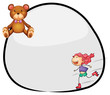 A round template with a young girl rollerskating and a bear