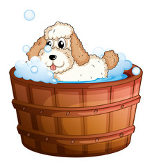 A brown bathtub with a dog taking a bath