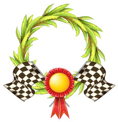 A ribbon with two racing flags