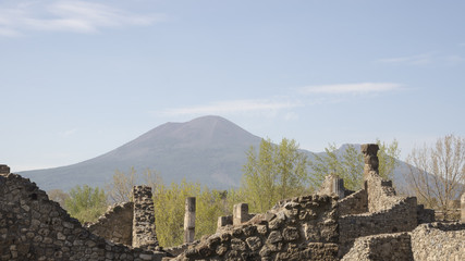 Views of Mount Vesuvius from Pompeii. Italy