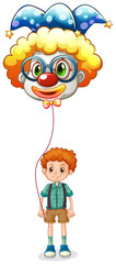 A boy holding a clown balloon with an eyeglass