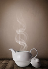 Tea pot with abstract white steam