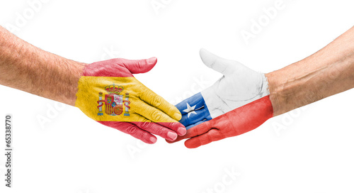 canvas print picture Handshake Spanien und Chile