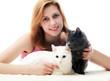 girl hugging cats