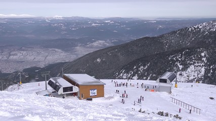 Skiers and snowboarders in ski resort Bansko timelapse