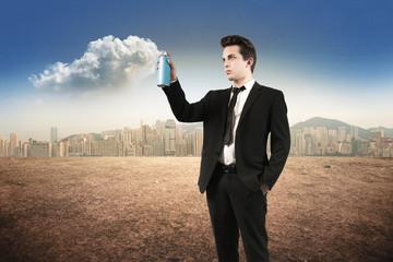 man spray clouds