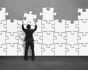 Assembling puzzles wall
