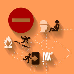 Abstract illustration with safety icons