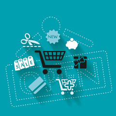 Abstract illustration with shopping icons