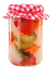 Pickled peppers preserved in glass jar