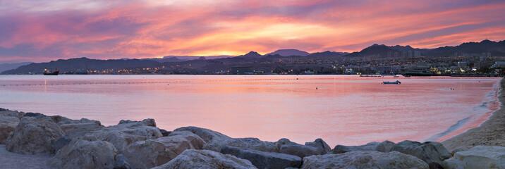 Pier in famous resort city of Eilat, Israel