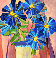 Lush dark blue daisies