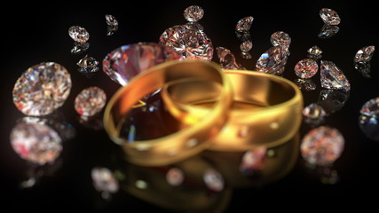 Wedding rings and diamonds,  beautiful background, seamless loop