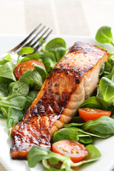 Grilled salmon with a honey glaze