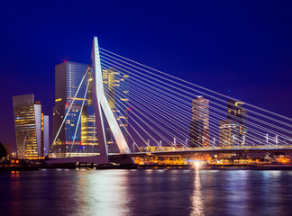 Erasmus Bridge During Blue Hour, Rotterdam, The Netherlands