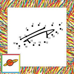 Cartoon vector planet (second). Dot to dot